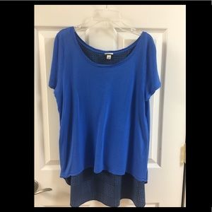 Blue Blouse with High Low Cut
